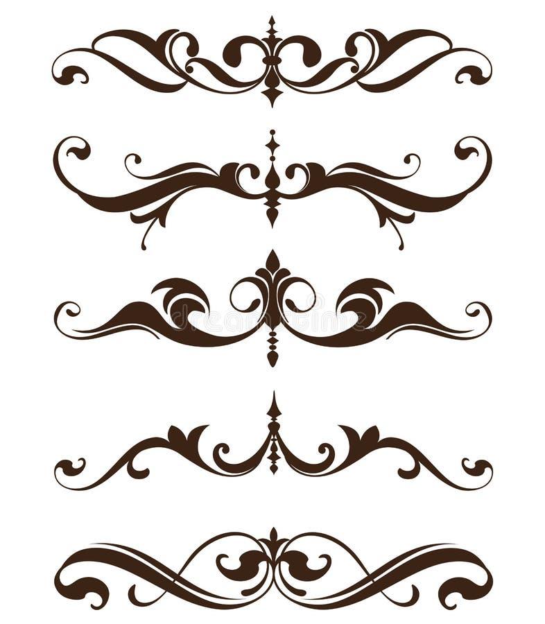Roczników ornamentów projekta elementów curlicues krawężników kwiecista rama osacza majcherów royalty ilustracja