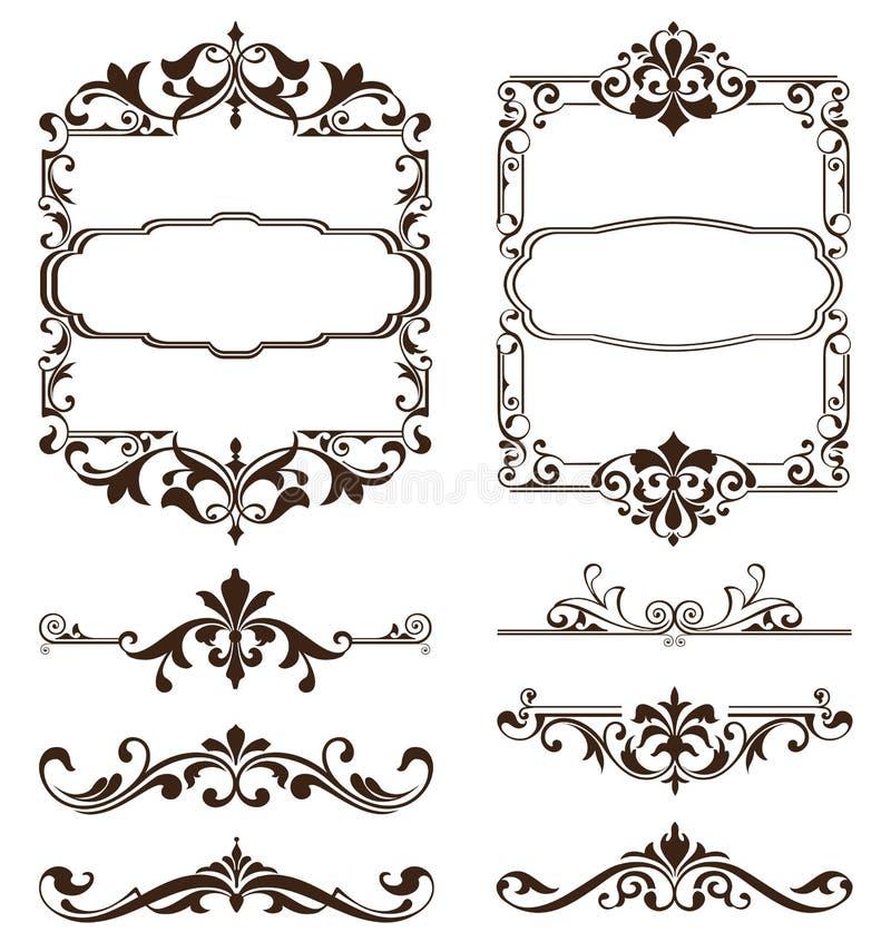 Roczników ornamentów projekta elementów kwiecistych curlicues tła krawężników biała rama osacza majcherów royalty ilustracja