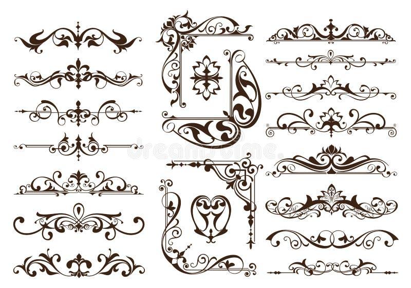 Roczników ornamentów projekta elementów kwiecistych curlicues tła krawężników biała rama osacza majcherów ilustracja wektor
