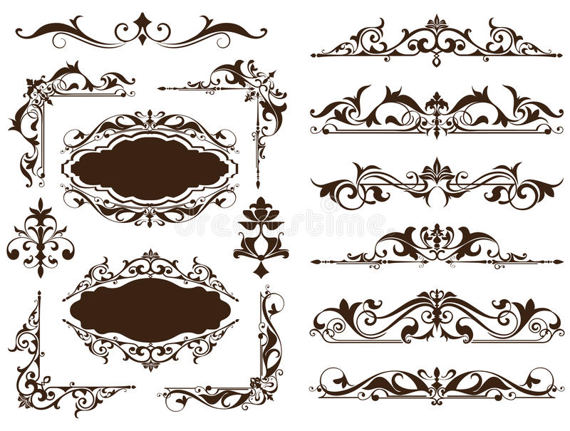 Roczników ornamentów projekta elementów kwiecistych curlicues tła krawężników biała rama osacza majcherów Granicy, monogramy i di royalty ilustracja
