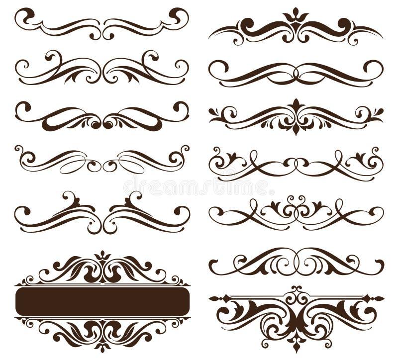 Roczników ornamentów projekta elementów kwiecistych curlicues tła krawężników biała rama osacza majcherów ilustracyjnych ilustracja wektor
