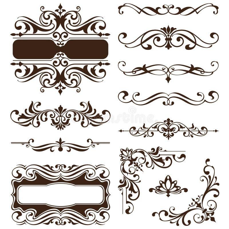 Roczników ornamentów projekta elementów kwiecistych curlicues tła krawężników biała rama osacza majcherów ilustracyjnych ilustracji