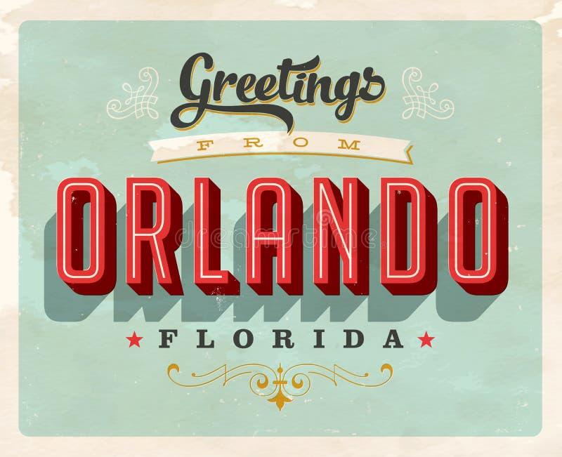 Roczników powitania od Orlando urlopowej karty ilustracja wektor