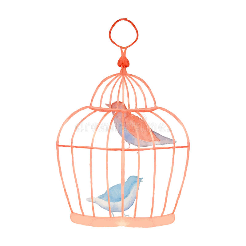 Roczników ptaki w klatce ilustracja wektor