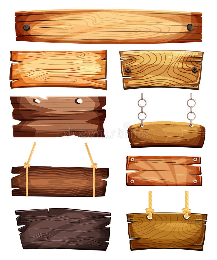 Roczników puści lub puści drewniani signboards ilustracji