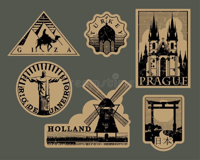 Roczników punktów zwrotnych podróży papierowe etykietki