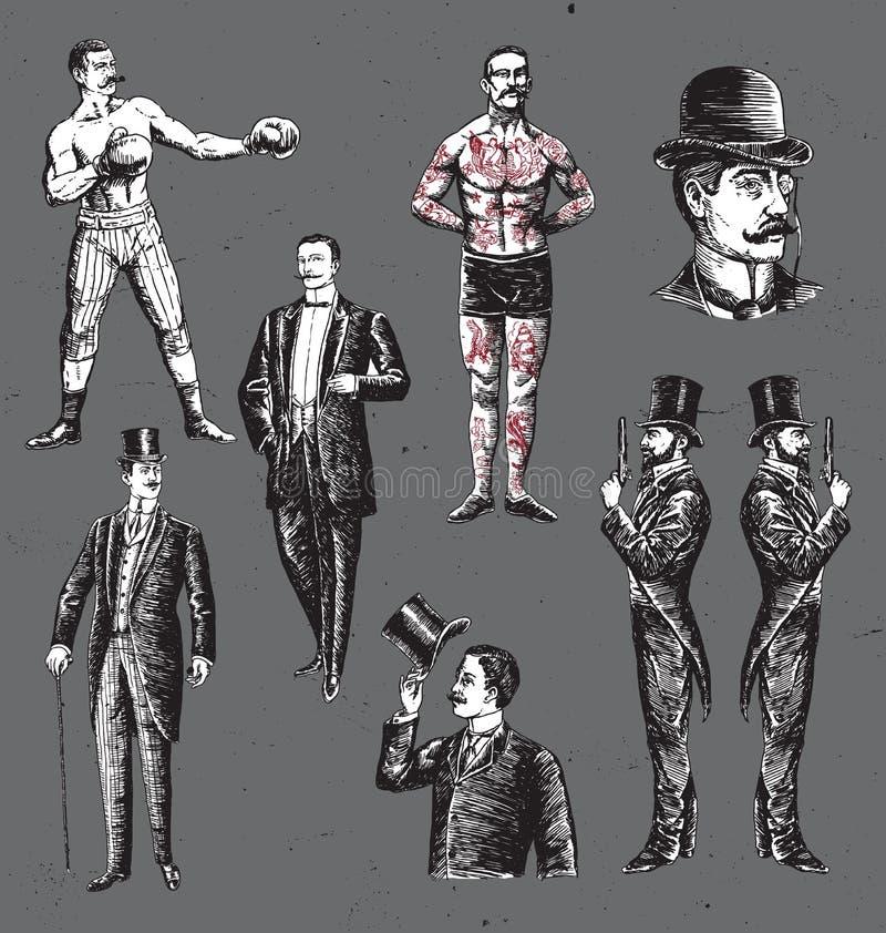 Roczników ręka Rysujący dżentelmeny Ustawiający ilustracji