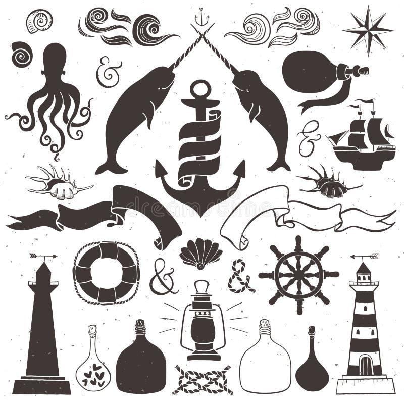 Roczników ręka rysujący elementy w nautycznym stylu royalty ilustracja