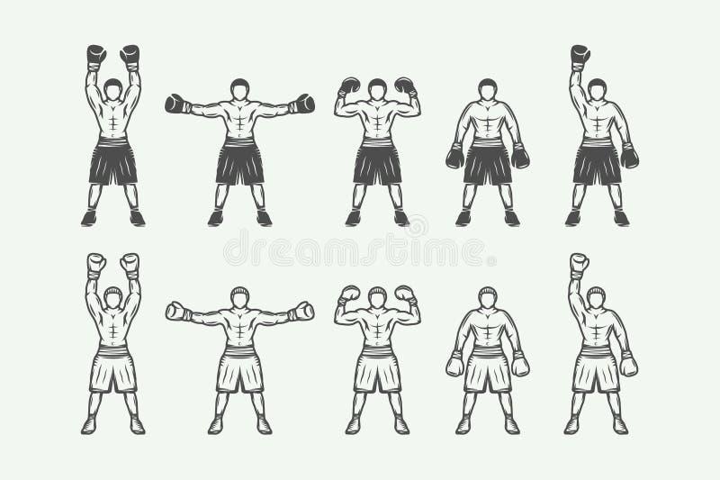 Roczników retro boksery ustawiający Może używać dla loga, odznaka, emblemat ilustracji