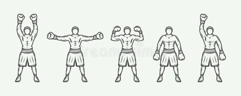 Roczników retro boksery ustawiający Może używać dla loga, odznaka, emblemat ilustracja wektor