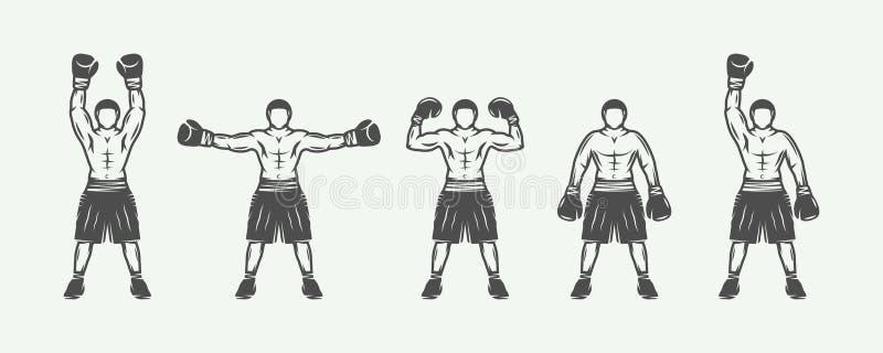 Roczników retro boksery ustawiający Może używać dla loga, odznaka, emblemat, ocena, etykietka ilustracja wektor