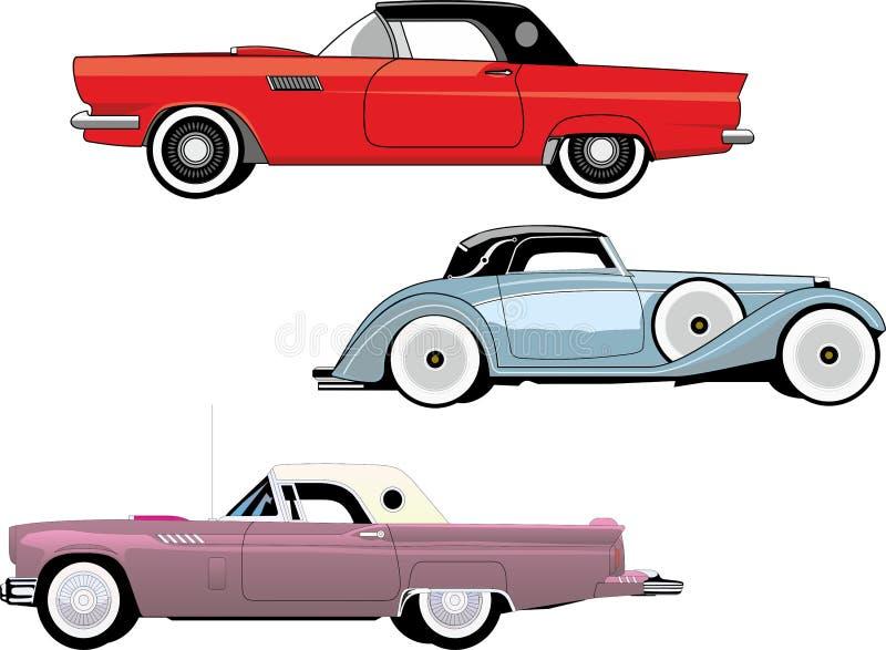 Roczników samochody stare samochody Set royalty ilustracja