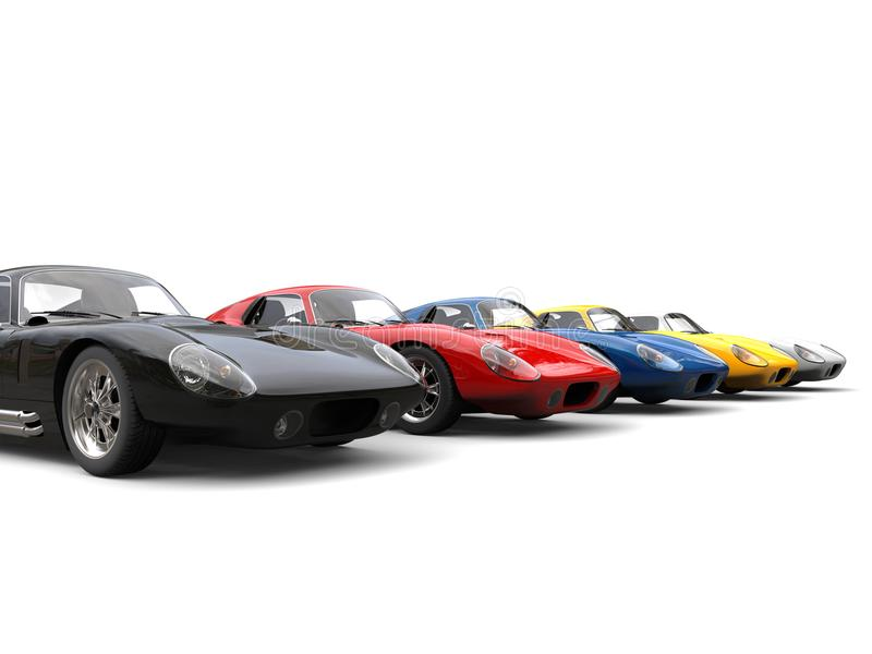Roczników samochody wyścigowi w zaczyna pozycjach ilustracja wektor