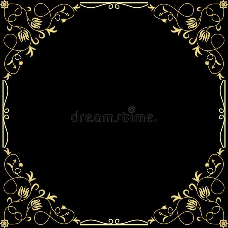 Roczników sztandarów etykietek Wektorowe Złote ramy Kaligraficzni embossed projektów elementy Dekoracyjna granica na czerni royalty ilustracja