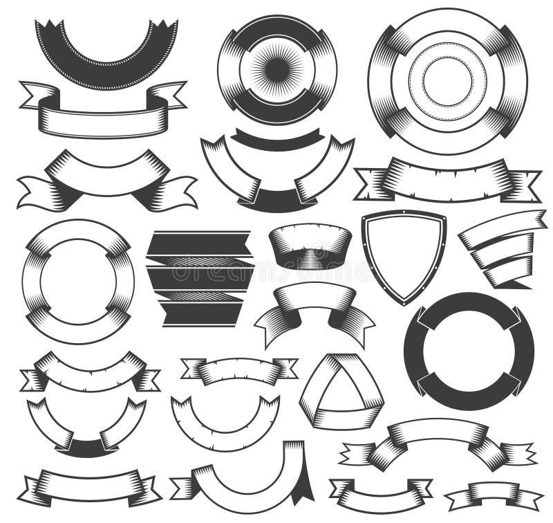 Roczników sztandary i faborki royalty ilustracja