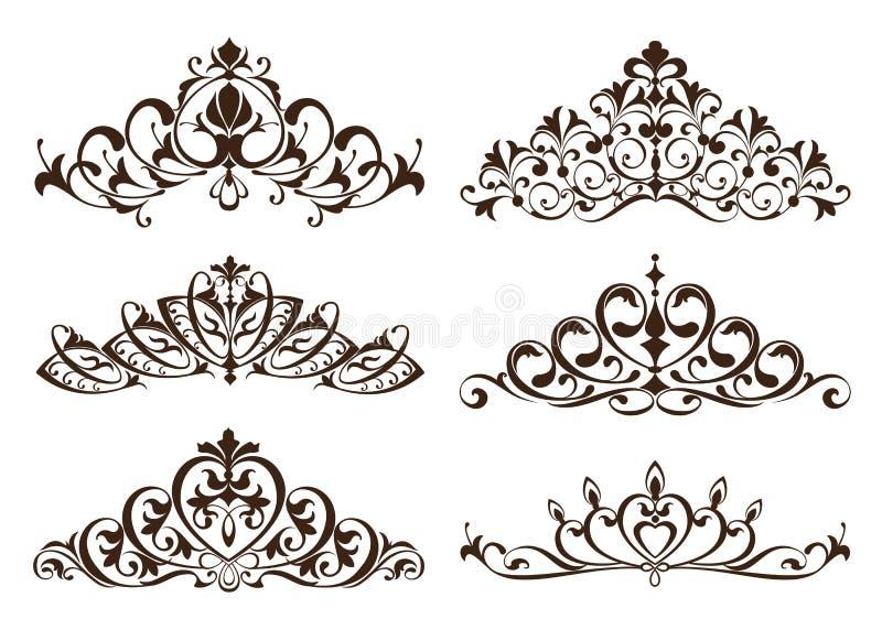 Roczników tiars z wzorzystymi ornamentami i diademy ilustracji