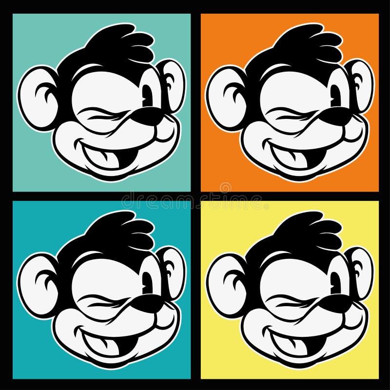 Roczników toons cztery wizerunku retro postać z kreskówki smiley i mrugnięcia małpują na kolorowym tle royalty ilustracja