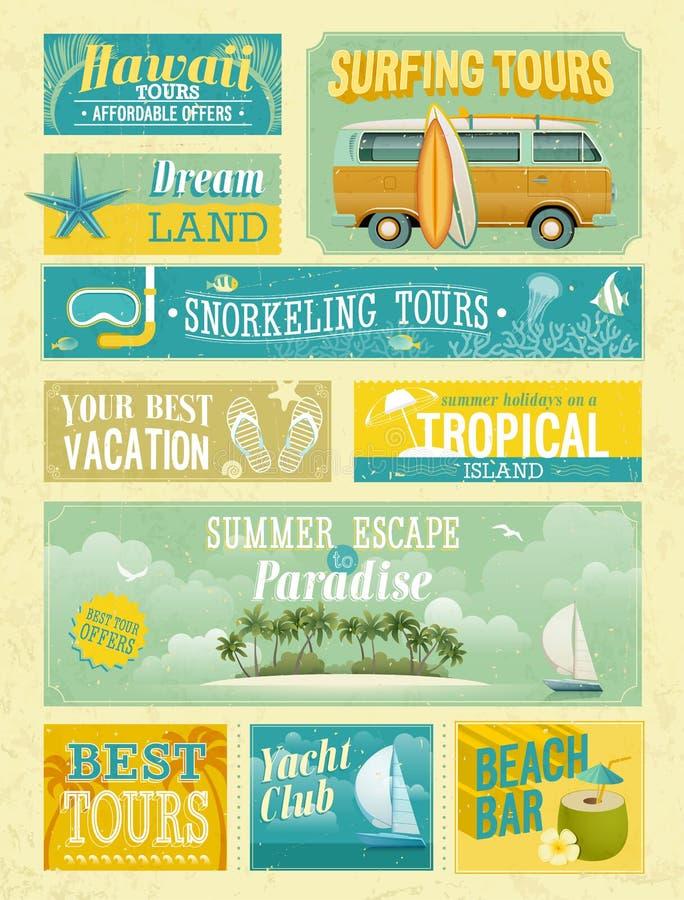 Roczników wakacje letni i plażowe reklamy. ilustracji