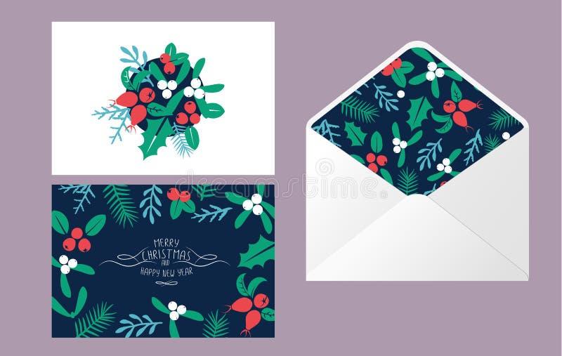 Roczników Wesoło bożych narodzeń koperty set royalty ilustracja