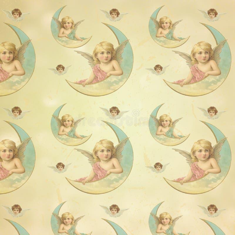 Roczników Wiktoriańscy aniołowie Wzorzysty Cyfrowego tła papier - Opakunkowego papieru projekt - Pastelowy anioł - royalty ilustracja