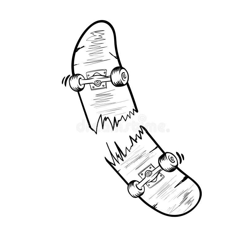Rocznik łamająca deskorolka szablonu odosobniona wektorowa ilustracja ilustracji