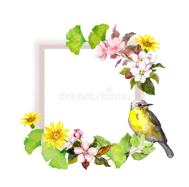 Rocznik ślubna karta kwiaty i śliczny ptak - Akwareli rama dla save daty teksta royalty ilustracja