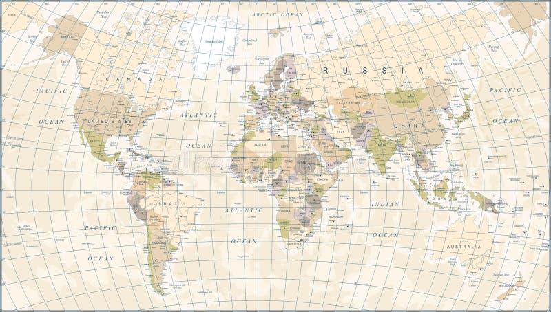Rocznik Światowa mapa - Wektorowa ilustracja ilustracja wektor