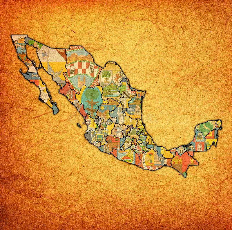Rocznik administraci mapa Meksyk ilustracji
