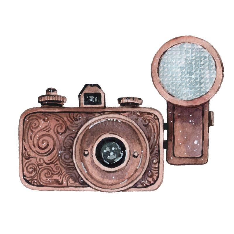 Rocznik akwareli retro kamera Doskonalić dla fotografia loga ilustracja wektor