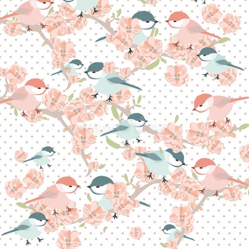 Rocznik akwareli tła karta z kwitnienie ptakami i kwiatami ilustracji