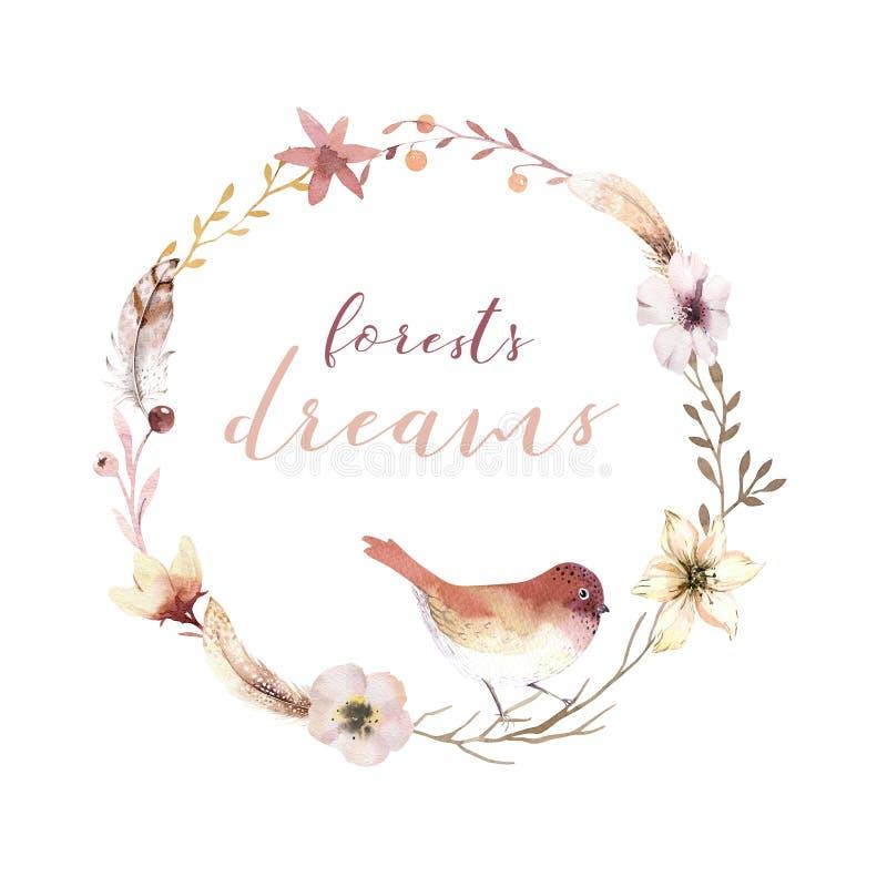 Rocznik akwareli wianku elementy kwiatów, ogrodowych i dzikich kwiaty z ptakami, kwitną, ilustracja odizolowywająca, ptak royalty ilustracja