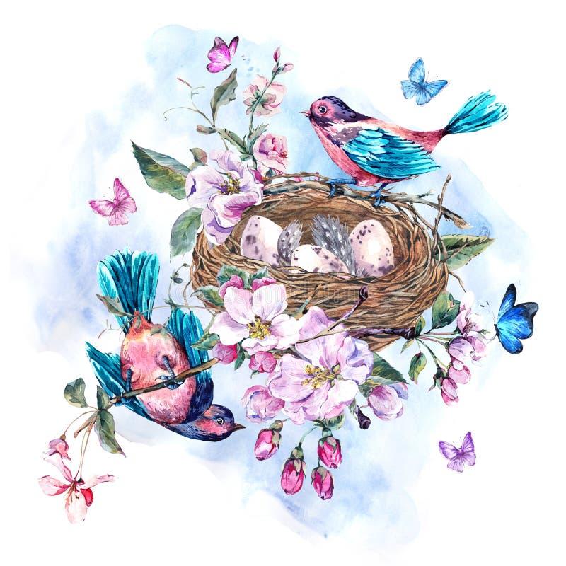 Rocznik akwareli wiosny kartka z pozdrowieniami z menchiami kwitnie bloomi ilustracji