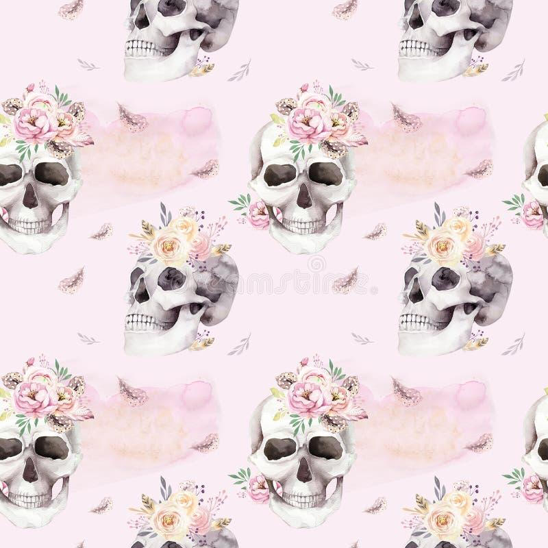 Rocznik akwareli wzory z czaszką i różami, wildflowers, ręka rysująca ilustracja w boho stylu Kwiecista czaszka ilustracji