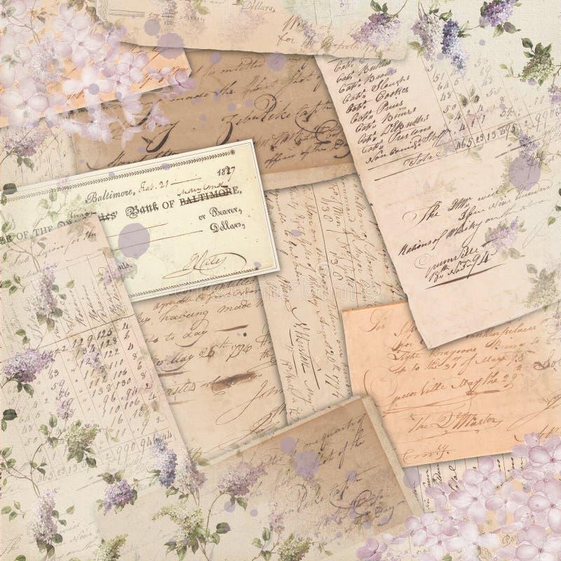 Rocznik Americana efemeryda akwareli Scrapbook papieru Akcentuacyjny projekt - Lily Podławy wzór - obraz royalty free