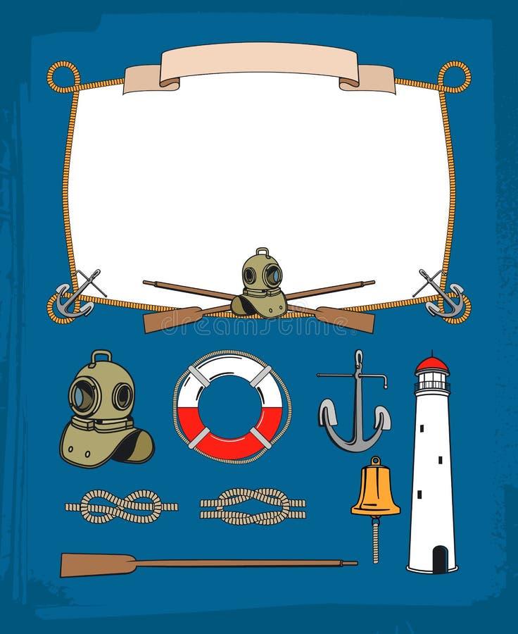 Rocznik arkany nautyczna rama, dekoracyjni symbole royalty ilustracja