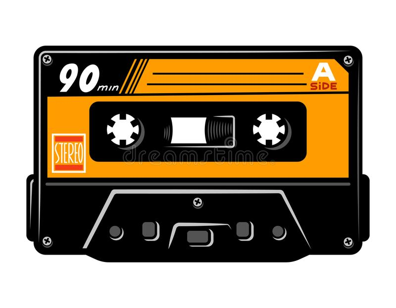 Rocznik audio kasety kolorowy pojęcie ilustracja wektor