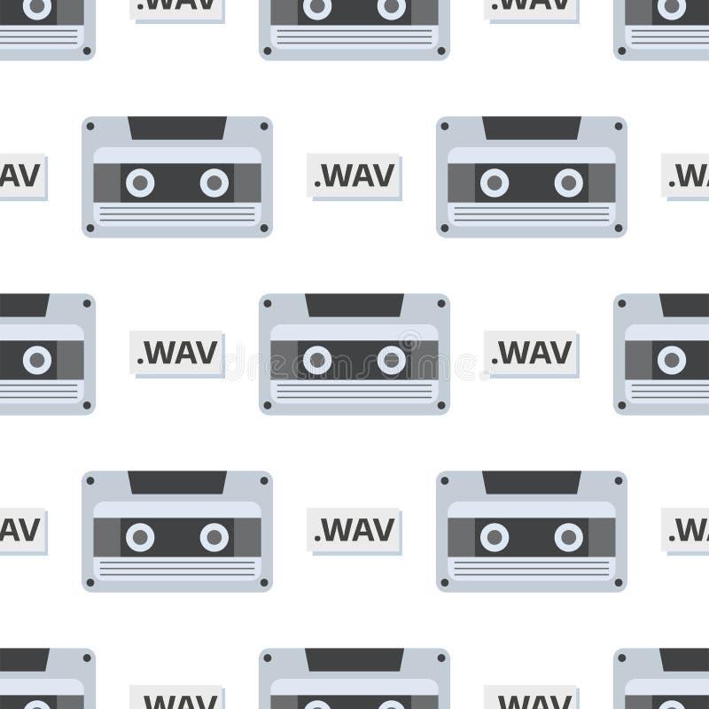 Rocznik audio kasety rozrywki wektorowego retro audio multimedialnego starego elektronicznego gadżetu komunikacyjny bezszwowy wzó ilustracja wektor