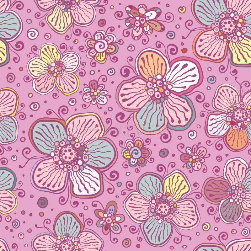 Rocznik barwi wektorowych kwiatów bezszwowego wzór ilustracji