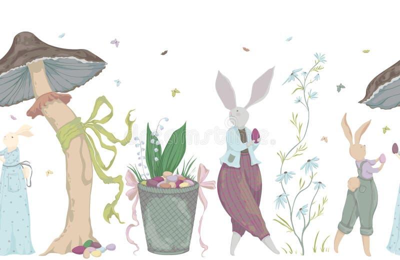 Rocznik bezszwowa granica z królików charakterami i projektów elementami dla Wielkanocnego wakacje Wielkanocny królik, jajka, kwi ilustracji