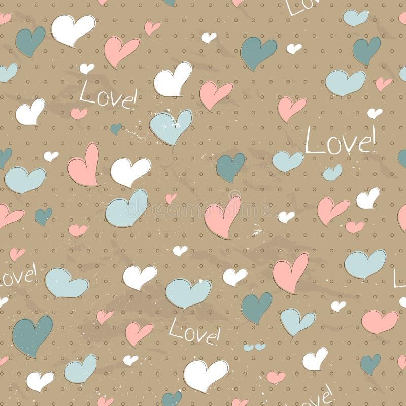 Rocznik bezszwowa tekstura z sercami. ilustracji