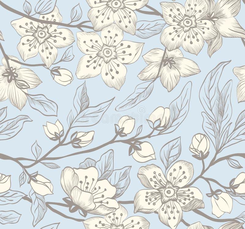 Rocznik bezszwowej wiosny kwiecisty tło royalty ilustracja