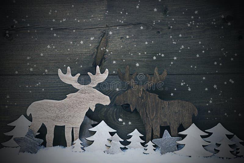 Rocznik Bożenarodzeniowa dekoracja, łoś amerykański para W miłości, płatki śniegu zdjęcia stock