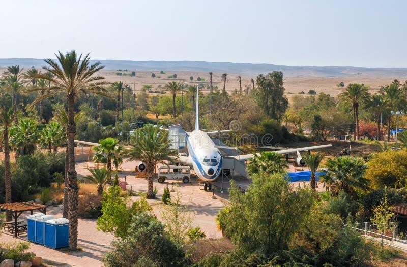 Rocznik Boeing 707 wystawiający przy Izraelickim siły powietrzne muzeum lokalizuje przy Hatzerim bazą powietrzną obrazy stock