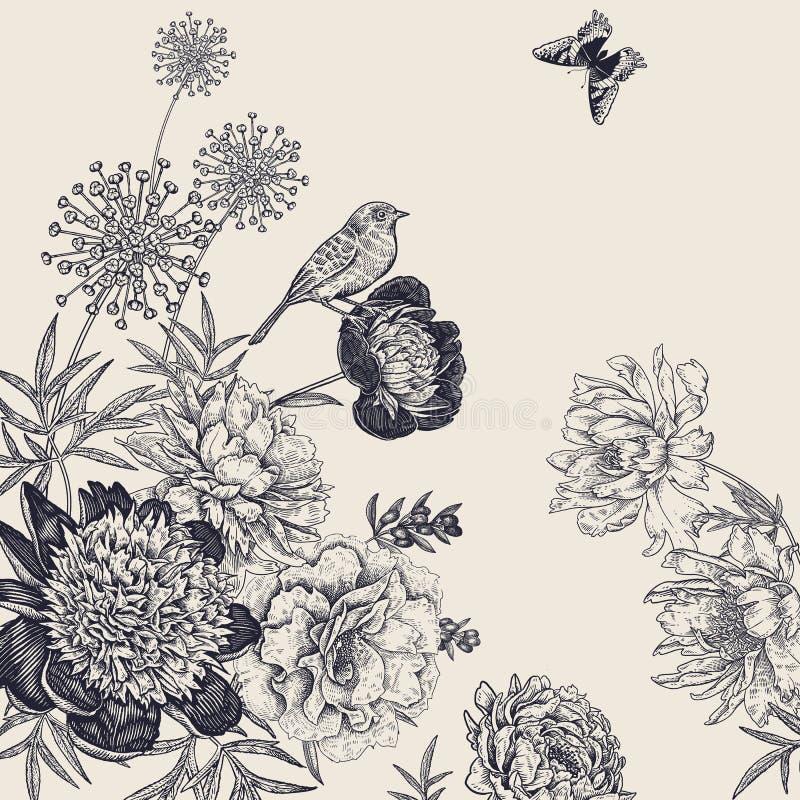 Rocznik botaniczna dekoracja Kwiaty, motyle i ptaki, royalty ilustracja