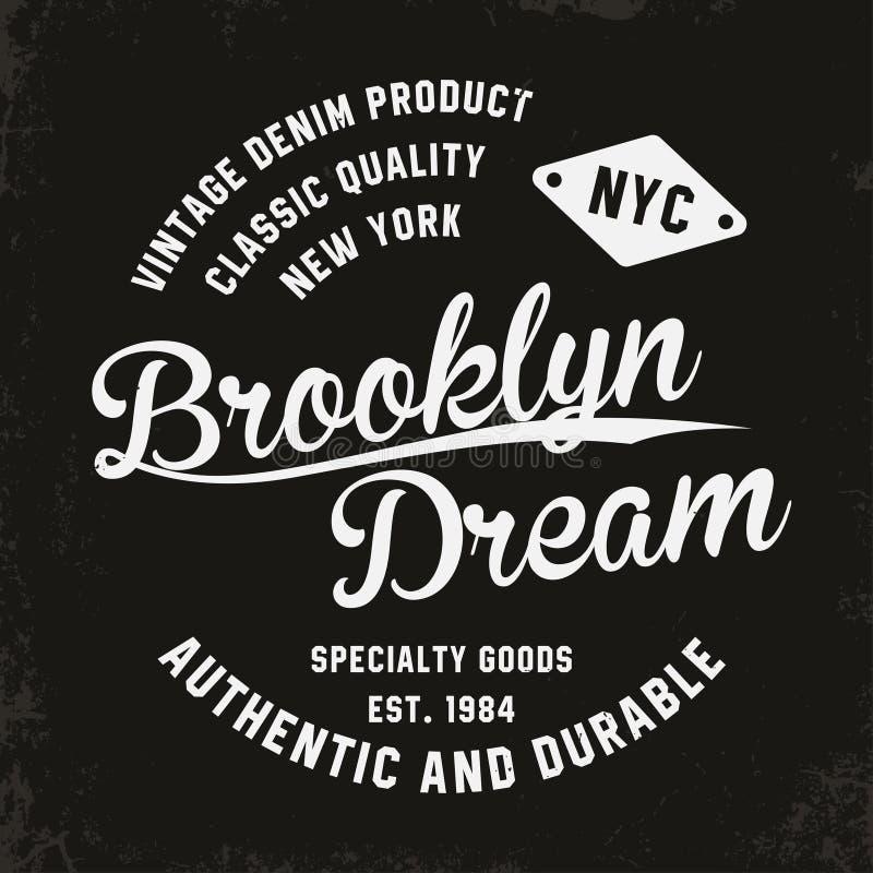 Rocznik, Brooklyn typografia dla koszulka druku Premia rocznika koszulki grafika ilustracja wektor