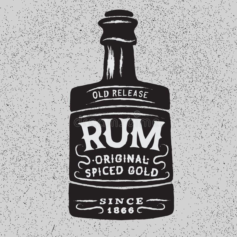 Rocznik butelka rum ilustracja wektor
