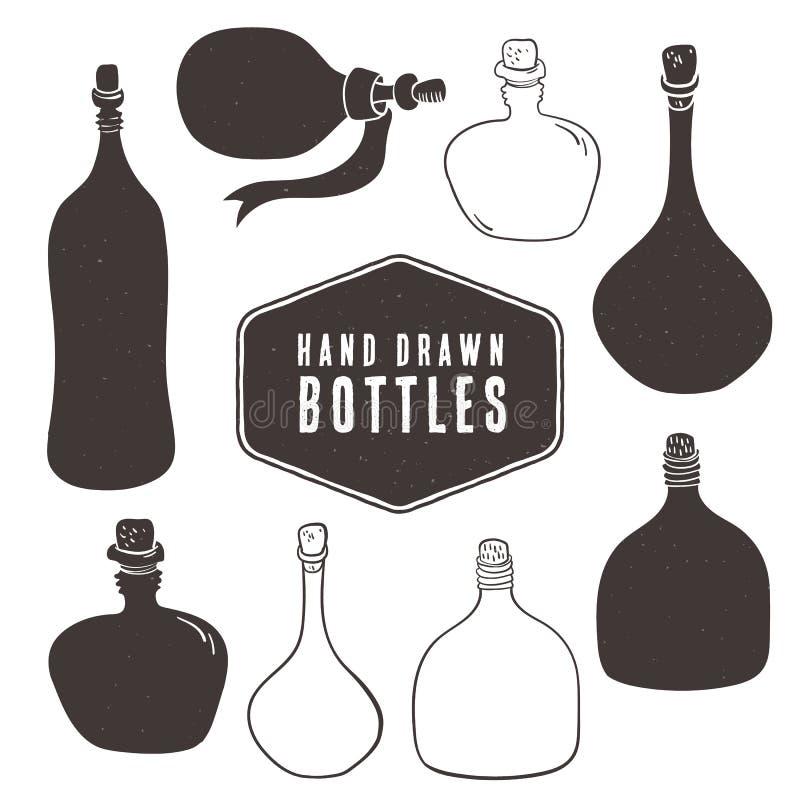Rocznik butelki kolekcja Ręka rysujący elementy ilustracja wektor