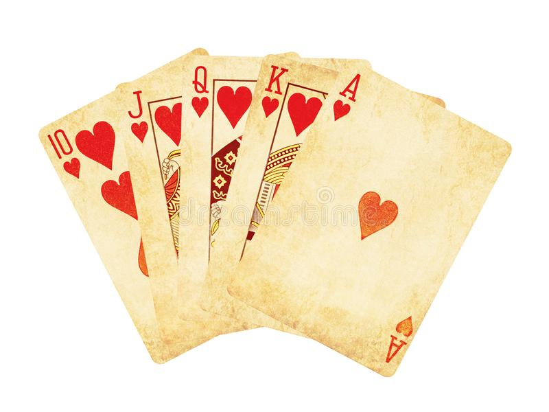 Rocznik być ubranym out serce królewskiego sekwensu grzebaka kart serc królewskiego sekwensu grzebaka drewniany stołowy topVintag zdjęcia stock