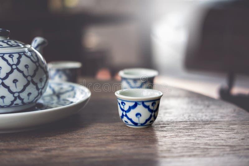 Rocznik Ceramiczna, Chińska porcelana Porcelanowa, herbata set obraz stock