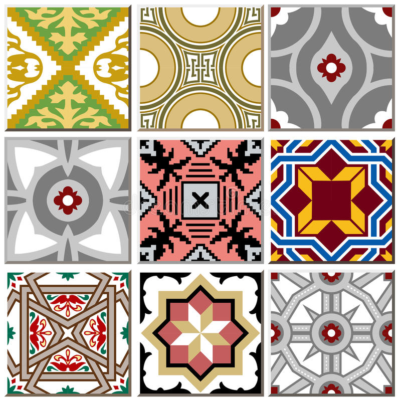 Rocznik ceramicznej płytki retro wzoru ustalona kolekcja 003 ilustracja wektor